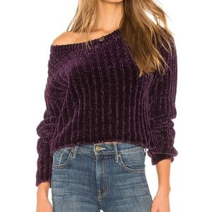 NWT Lover + friends Wells Chenille Sweater-Purple